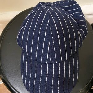 Cotton On Accessories - Blue and White Striped Baseball Hat